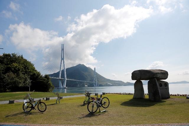 大三島にある自転車の聖地のモニュメント。