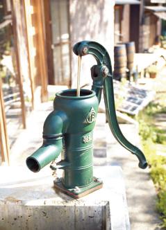 水は雨水を利用。昔ながらの手動ポンプで汲み 上げ、流れ出た水は、菜園に流れる仕組み