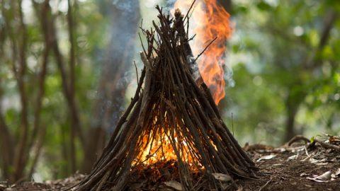 挿入から5秒後。バチバチと音を立てながら炎が全体に。ちょうど火を入れた瞬間に風が吹いたため、手前側から奥へと炎が流れているが、本来はもっと垂直に立ちのぼる。
