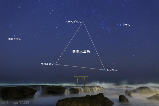 オリオン座、そして冬の大三角が昇ってきた。冬の星座には明るい星が多い。この写真には、一等星が5つも写っている。
