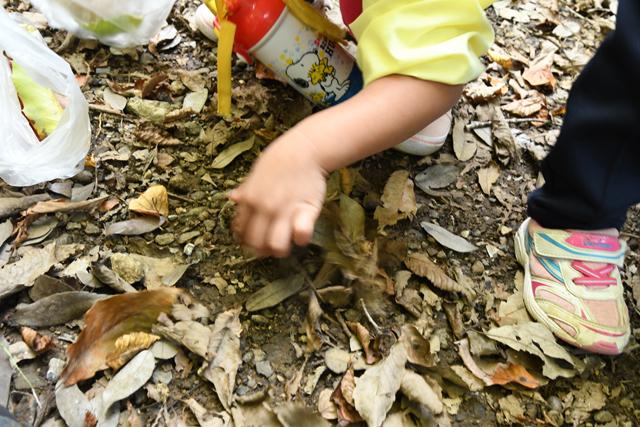 普通なら過ぎ去ってしまう何でもない地面が、今日の子供達にとってはお宝発掘場所に変わる