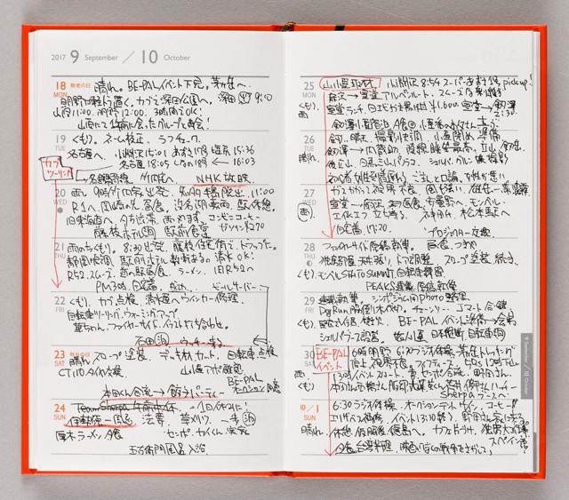 シェルパさんが書き込んだの は、2016年の旅記録。「ひ とこと日記を書くのもいいし、 小遣い帳にするのも手です」