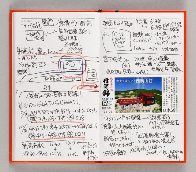 手帳の後半には、白紙ノートを13ペー ジ付けた。写真や切符を貼ったり、地 図を描き込んだり、使い道は自由自在。