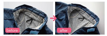 襟や袖口のひどい汚れ部分は洗濯途中に擦り 洗い。あとは洗濯機任せでこれだけキレイに!