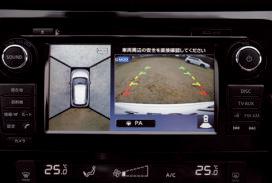 クルマを上空か ら見下ろしたよう な画面が表示され る、駐車アシスト システムは秀逸。