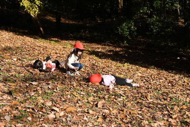 落ち葉に寝転ぶ乙女達。