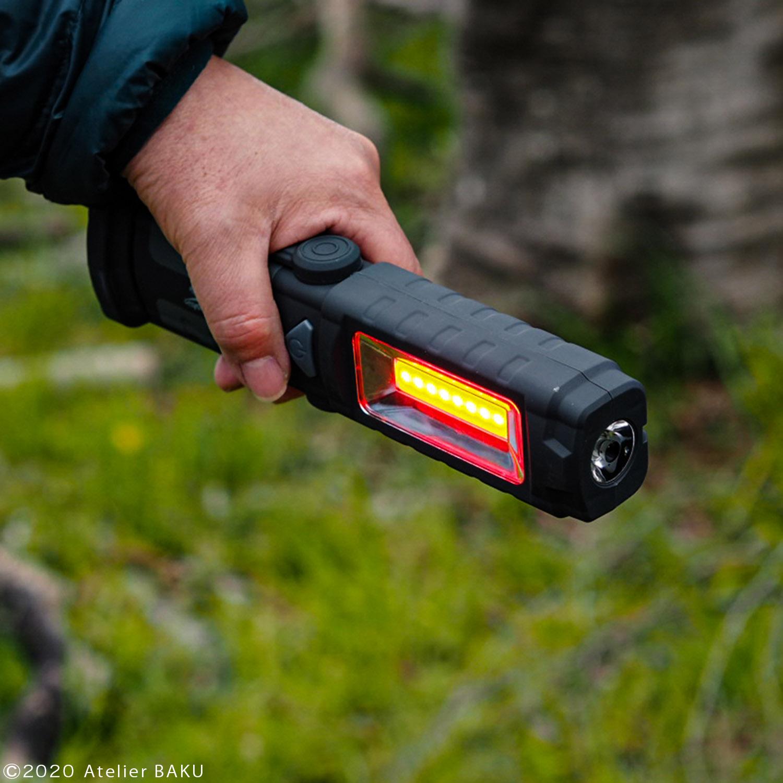 LEDワークライト大、赤色点滅ライト