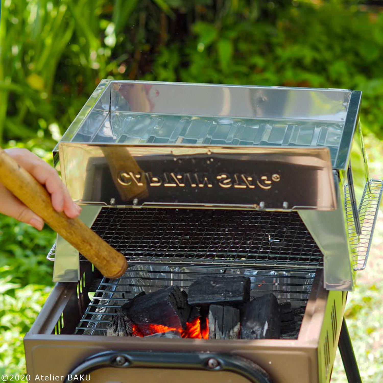 BBQコンロに炭火と本体をセット
